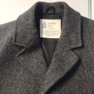 LONDON FOG Mens LARGE Gray Wool Trench Coat WARM
